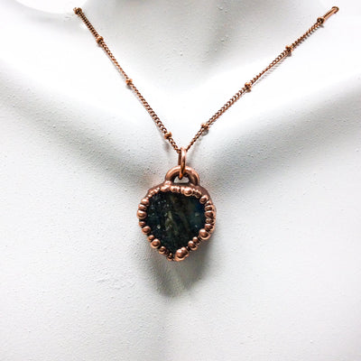 0036 Vintage Boho Electroformed Labradorite Chakra Antique Stone Necklace