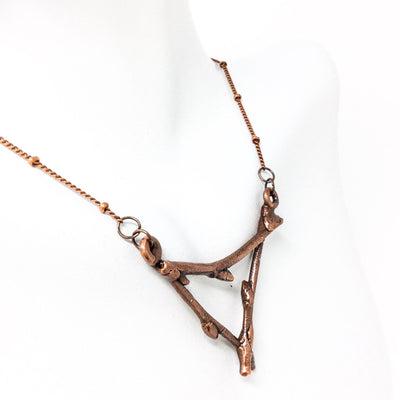 0040 Vintage Copper Birch Twig Necklace