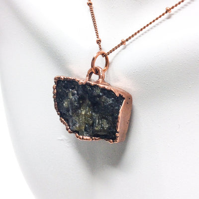 0024 Vintage Boho Electroformed Labradorite Chakra Antique Stone Necklace