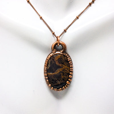 1039 Vintage Boho Electroformed Jasper Chakra Antique Stone Necklace