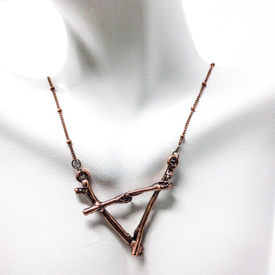 0047 Vintage Copper Birch Twig Necklace
