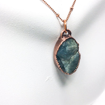0010 Vintage Boho Electroformed Aquamarine Chakra Antique Stone Necklace