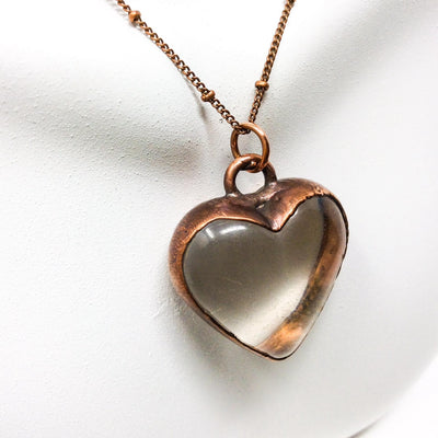 3043 Vintage Boho Electroformed Heart Antique Resin Necklace