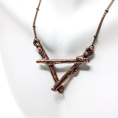 0063 Vintage Copper Birch Twig Necklace