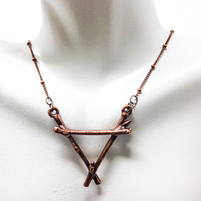 0052 Vintage Copper Birch Twig Necklace