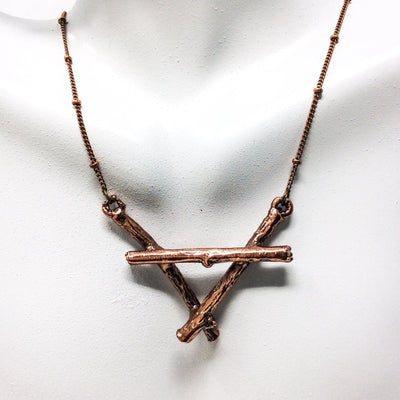 3009 Vintage Copper Birch Twig Necklace