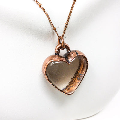 3047 Vintage Boho Electroformed Heart Antique Resin Necklace