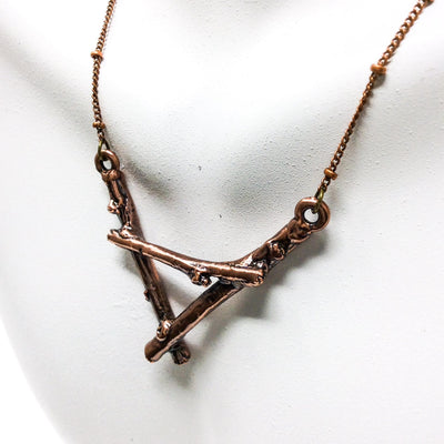 3054 Vintage Copper Birch Twig Necklace