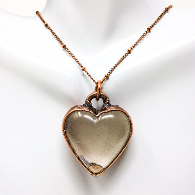 1009 Vintage Boho Electroformed Heart Resin Antique Necklace