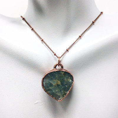 1026 Vintage Boho Electroformed Aquamarine Chakra Antique Stone Necklace