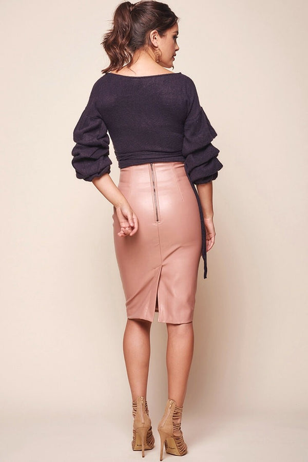 Nude Vegan Leather Skirt