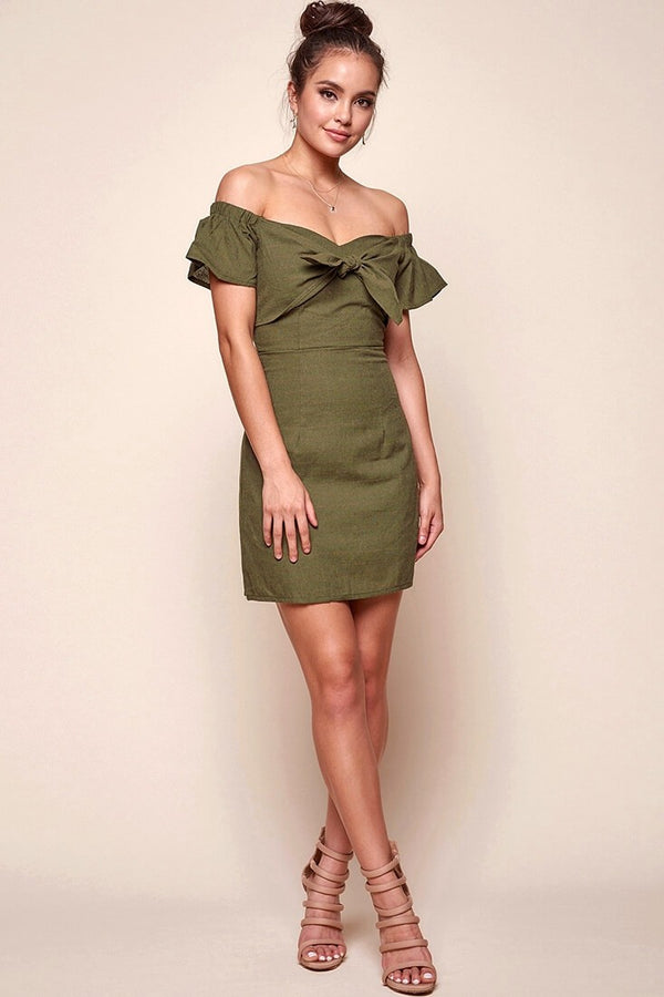 Olive Green off the shoulder Mini Dress