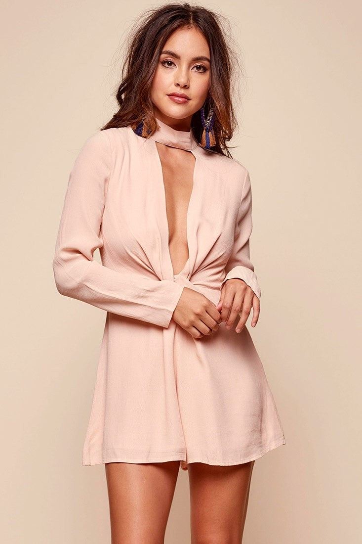 Rose Neckline Flirty Romper