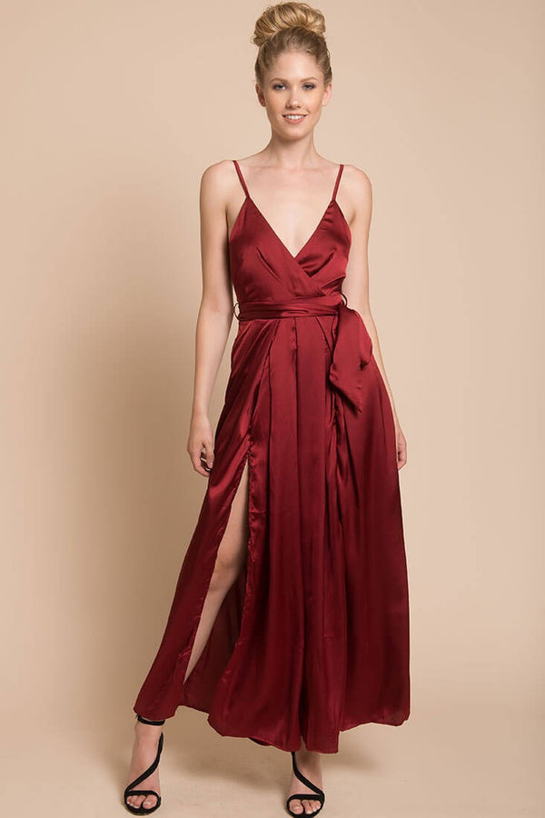 V-Cut Burgundy Jumpsuit