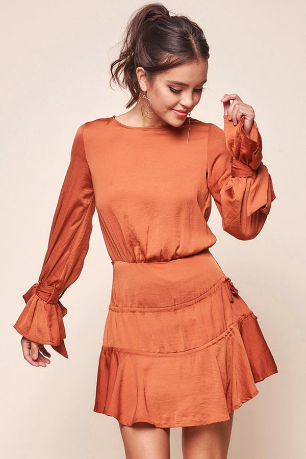 Vintage Ruffle Open Back Copper Dress