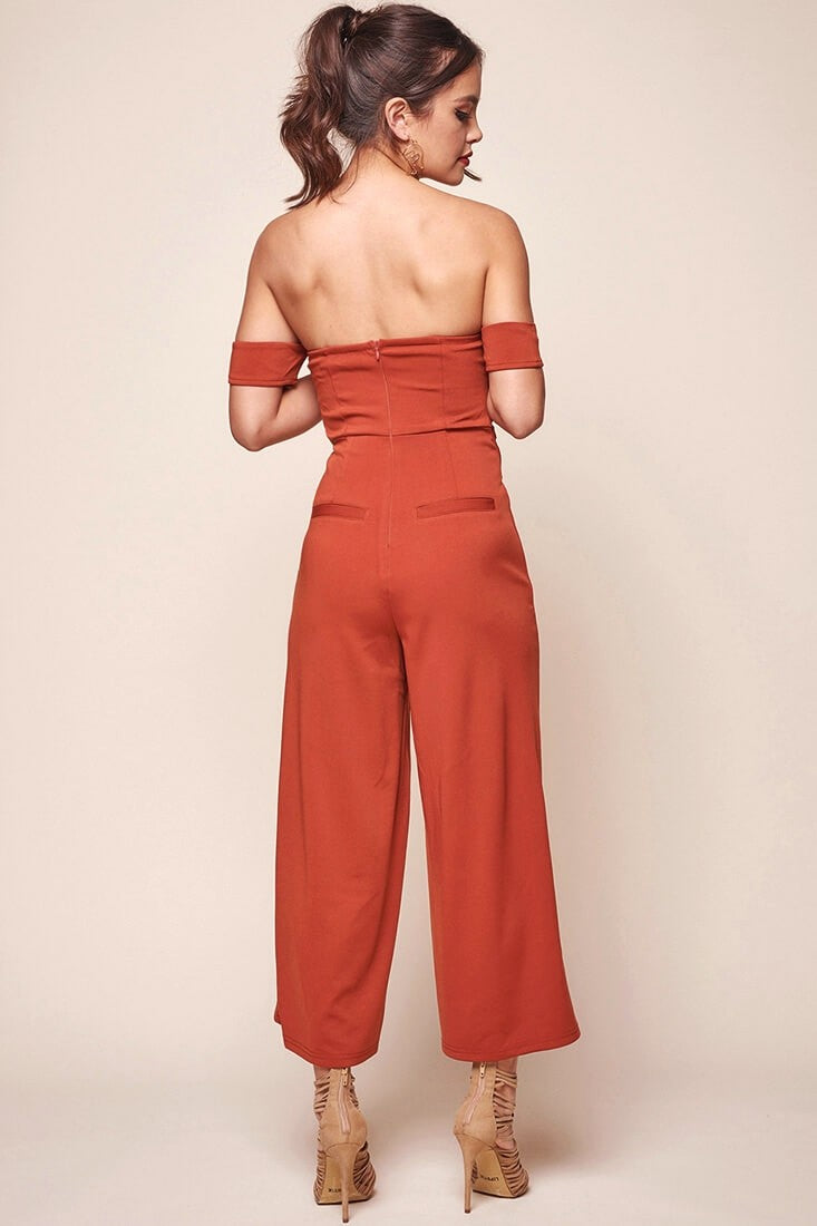 Sweet Escape Papaya Off The Shoulder Jumpsuit