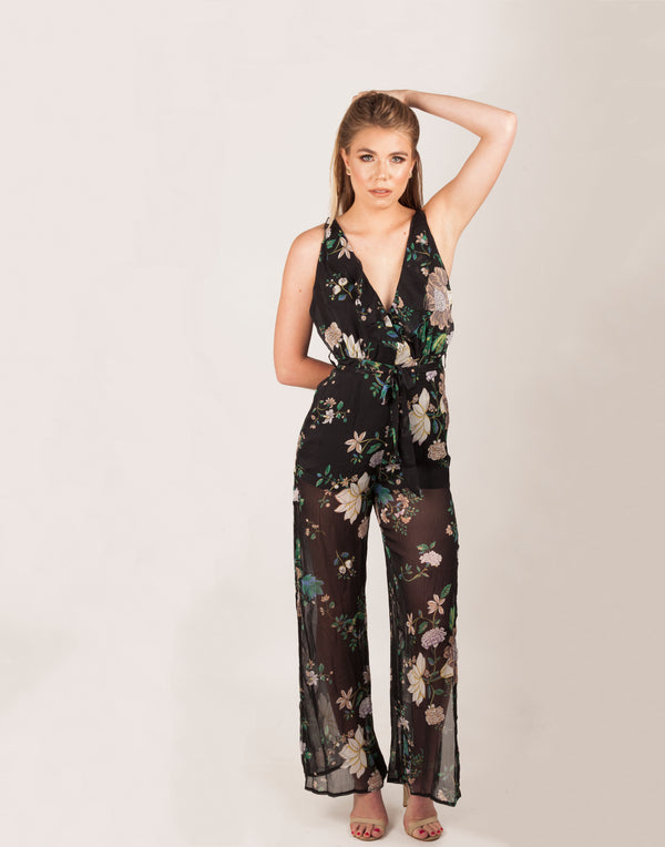Black Open Back Multi Floral Jumpsuit|MyCAVI
