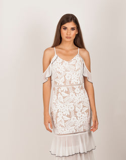 White and Ivory Floral Embroidered Lace Dress|MyCAVI