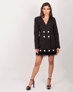 She Means Business Black Blazer Dress| MyCAVI
