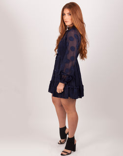 Open Back Navy Polka Dot Mini Dress|MyCAVI