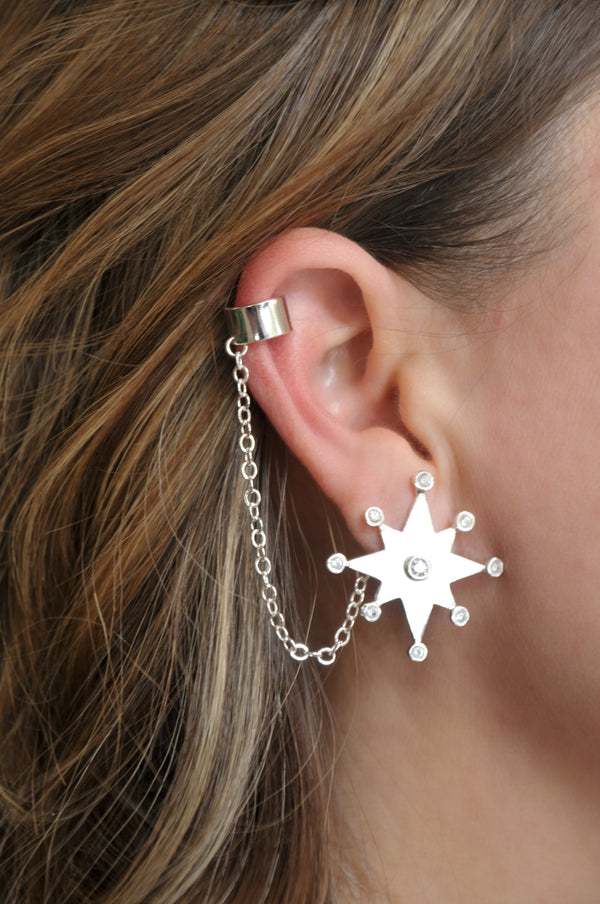 Star of Condestable Ear cuff | CAVI Online Clothing Boutique | Hand made jewelry |silver jewelry