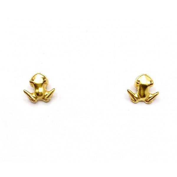 Mini Frog Earrings Studs | CAVI online Clothing Boutique Miami | Handmade gold jewelry