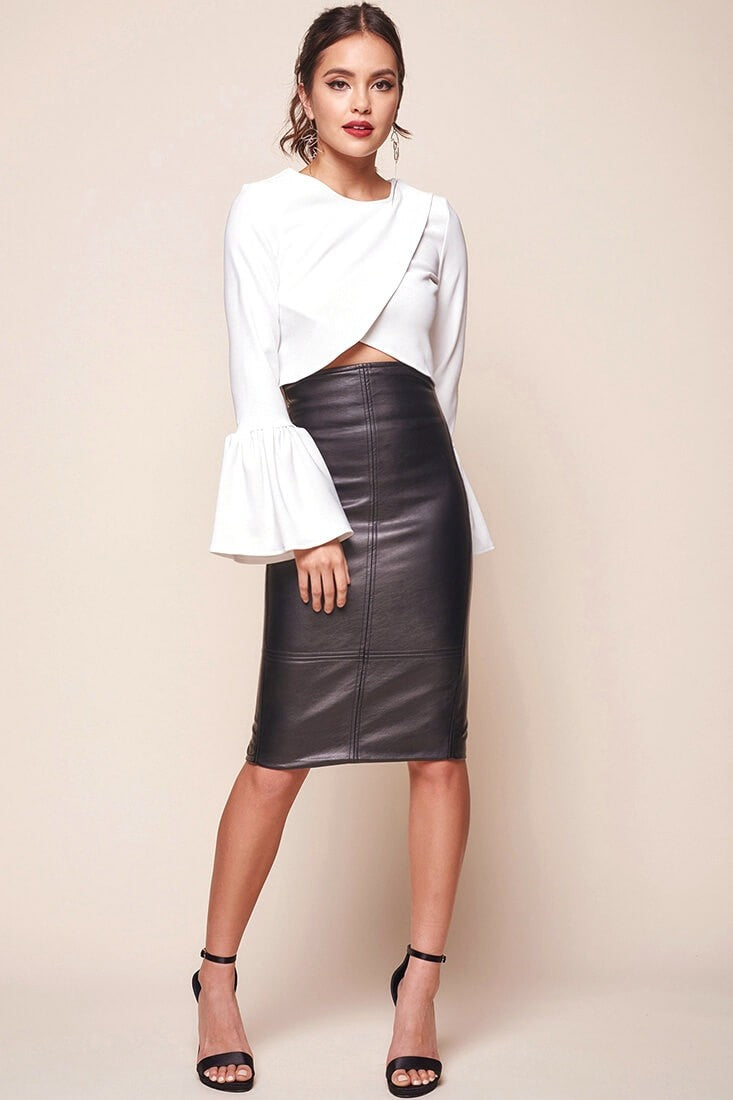 Black Vegan Leather Skirt