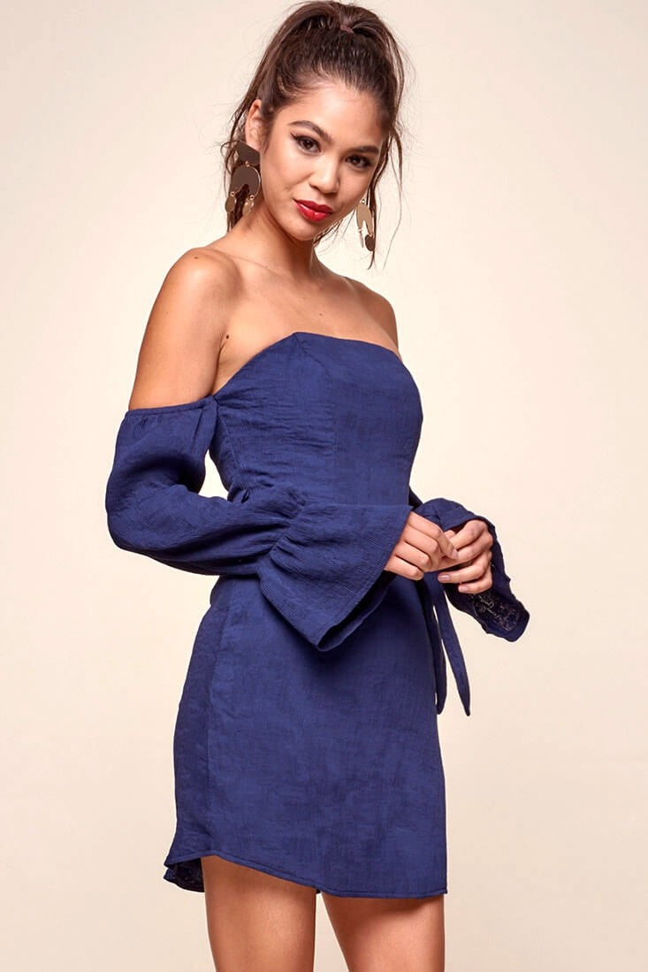 Day Dream Navy Off The Shoulder Mini Dress