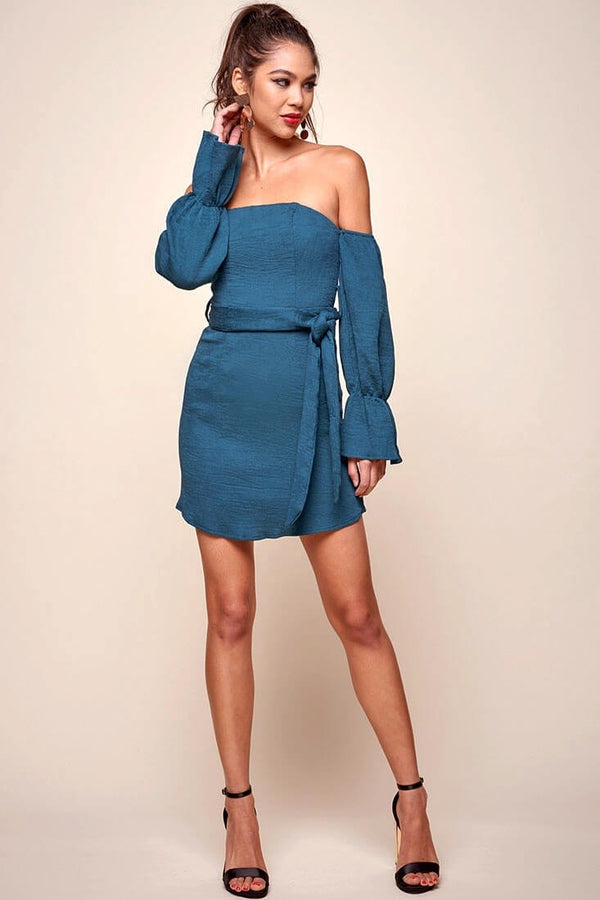 Day Dream Teal Off The Shoulder Mini Dress