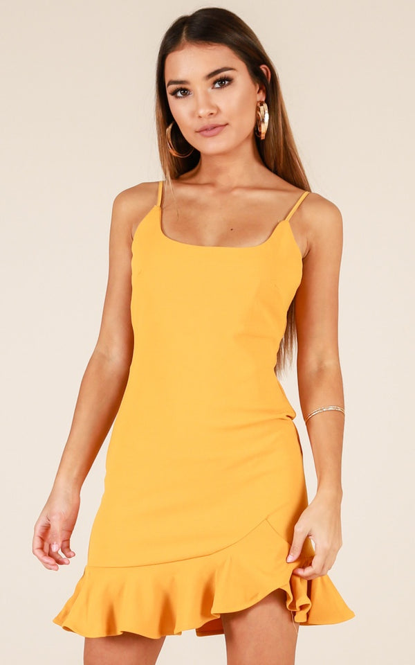 The Perfect Mini Mustard Dress