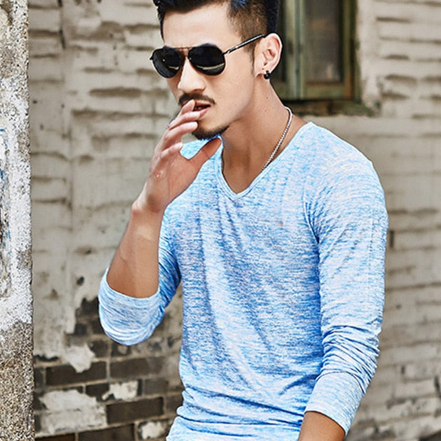 Men Solid V-Neck T-Shirts