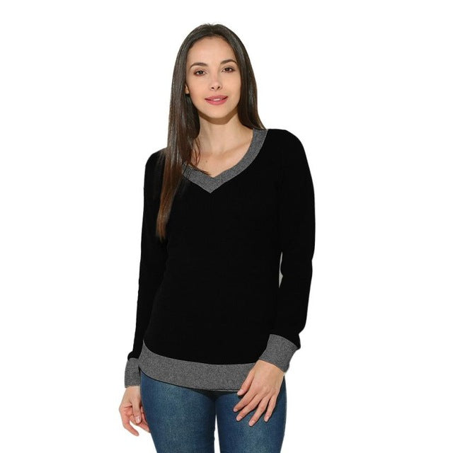 Women V-Neck Long Sleeve Sweater