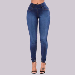 Women Slim Solid Denim Trousers