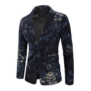 Men's Fashion Business Floral Blazer
