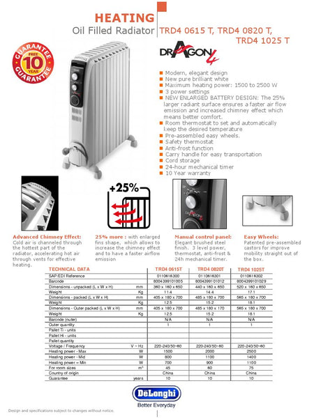 DeLonghi Dragon 4 Oil Filled Radiator TRD40820T