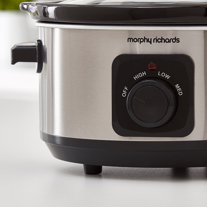 Morphy Richards 460017 Oval Slow Cooker 3.5L Polished Stainless Steel