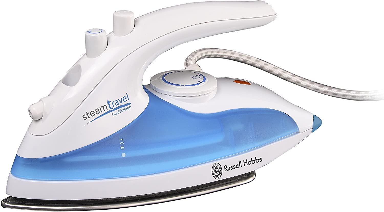 Russell Hobbs Steam Glide Travel Iron 22470, 760 W - White and Blue