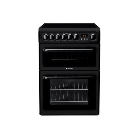 Hotpoint HAE60KS 60cm Double Oven Electric Cooker - Black