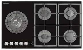 NordMende HGX903BGL 90cm Gas Hob with Cast Iron Pan Supports and Side Wok Burner Black Glass