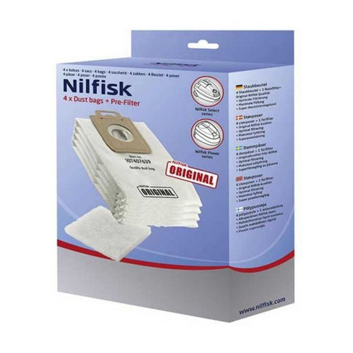 Nilfisk Select 4 x Dust Bags + Pre Filter | SELECTDUSTBAGS