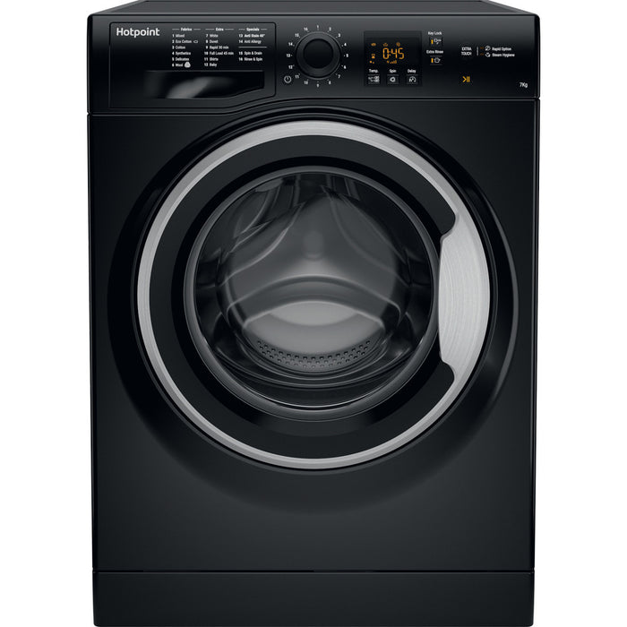 Hotpoint 7KG 1400 Spin Washing Machine, Black | NSWM743UBSUK