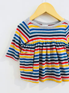 rainbow stripe dress set / 0-3m