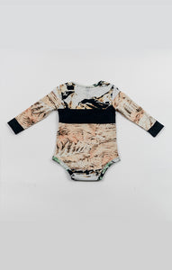 long sleeve onesie - fungi stripe