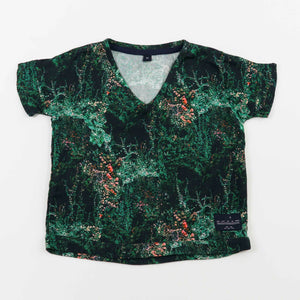 v-neck tshirt blouse - jangal forest