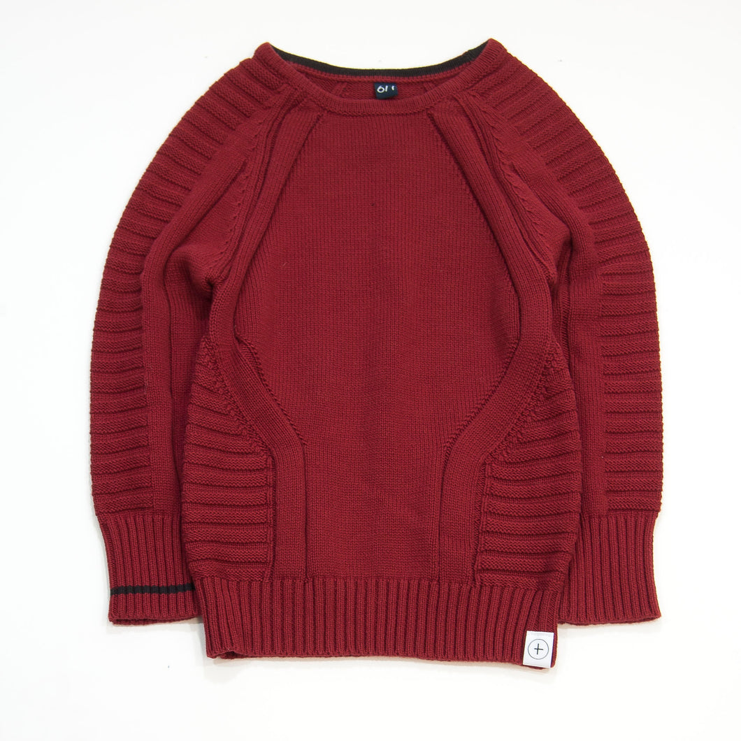 knit pullover - burgundy
