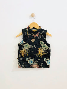 mandarin collar top / 6Y
