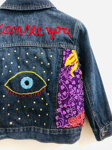 """i can see you"" embroidered denim jacket / 3T"