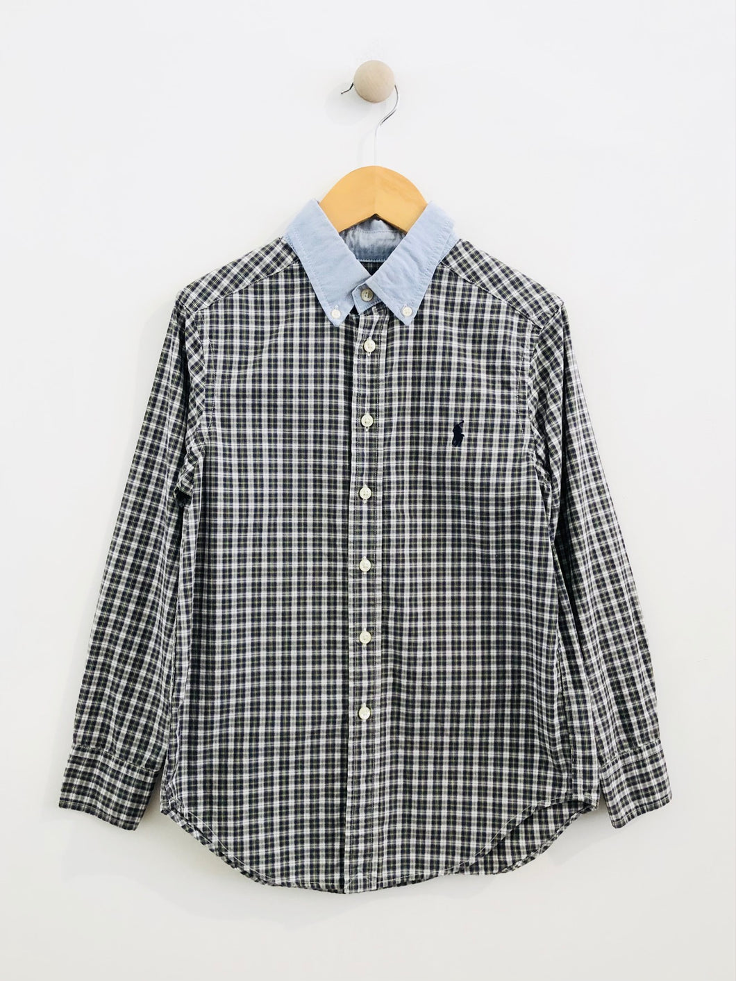 plaid combo button up / 8Y