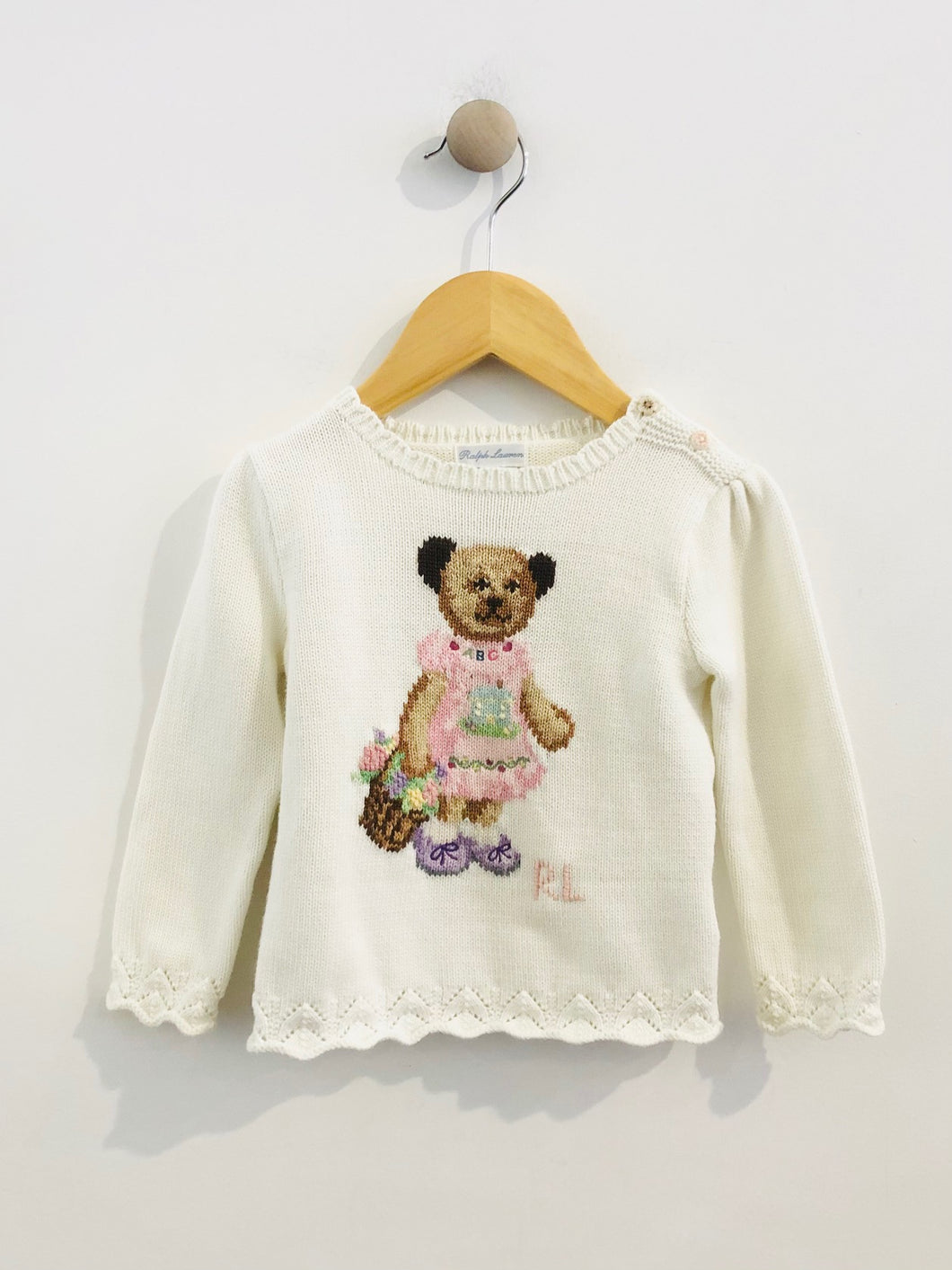 embroidered bear sweater / 24m
