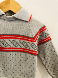 collared geo sweater / 6-9m
